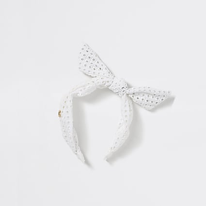 Girls white crochet bow headband