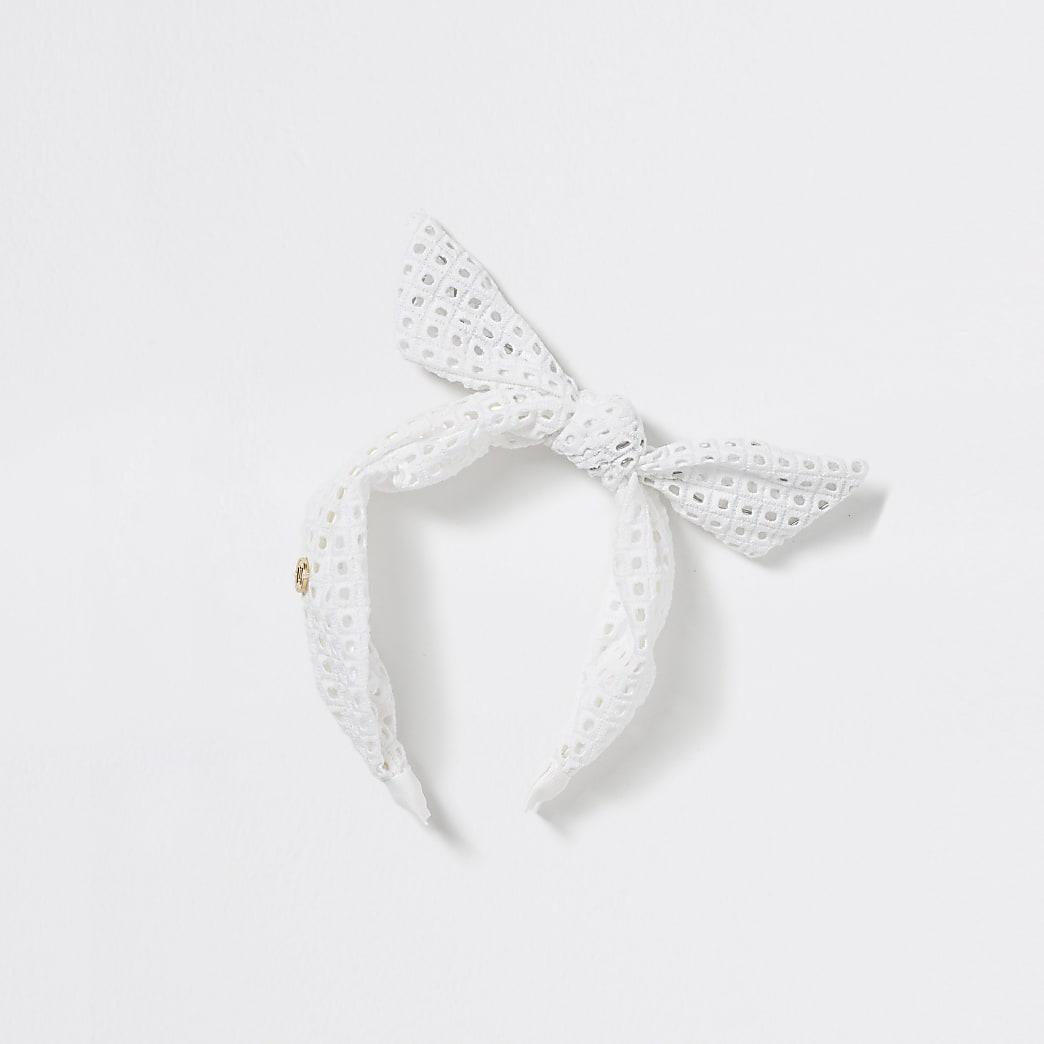 Witte gehaakte hoofdband met strik voor meisjes