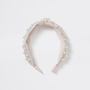Roze organza haarband met parels en knoop voor meisjes