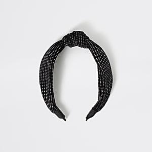 Glitzernder Haarreif in Schwarz mit Knoten