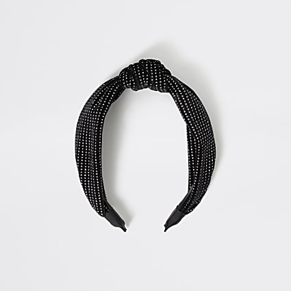 Girls black sparkle knot headband
