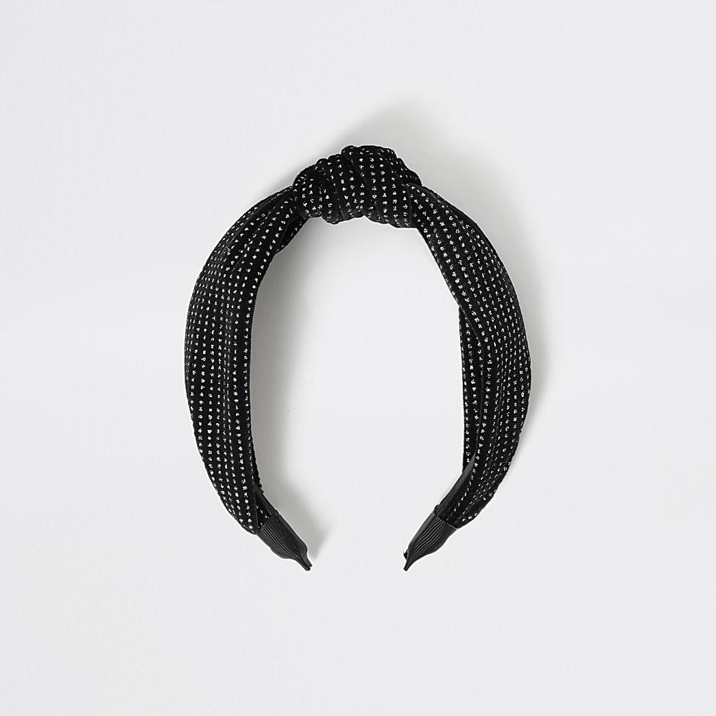 Girls black sparkle knot headband