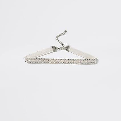 Girls white embellished choker necklace