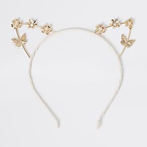 Roségoudkleurige haarband met kattenoren voor meisjes