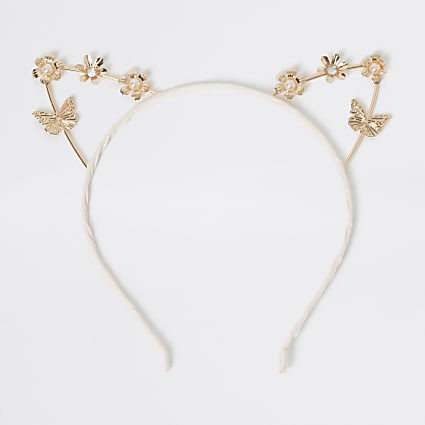 Girls rose gold colour cat ear headband