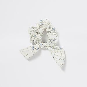 Chouchouà fleurs bleu avec nœud pour fille