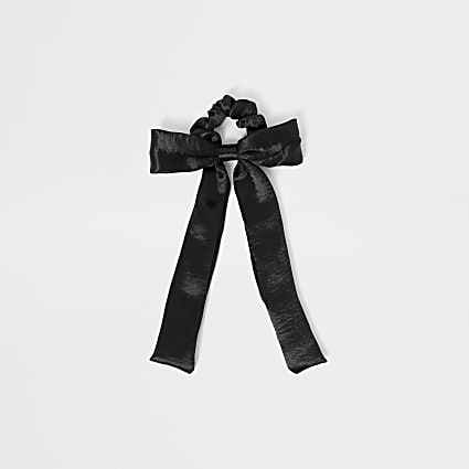 Girls black satin bow scrunchie hairband