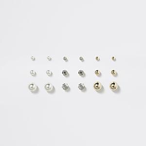 Goudkleurige oorhangers met parels voor meisjes multipack voordeel