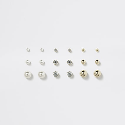 Girls gold colour pearl earring multipack