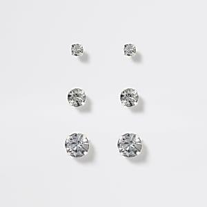 Zilverkleurige oorknopjes met siersteentjes voor meisjes set van 3