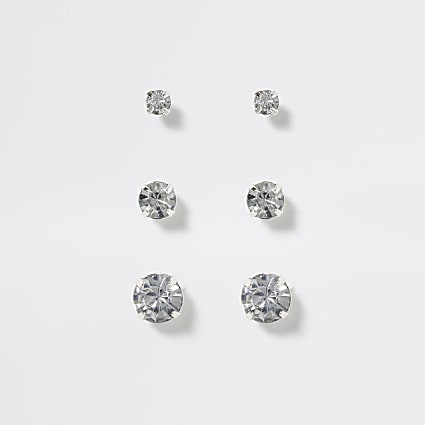 Girls silver diamante stud earring 3 pack
