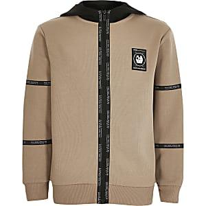 RI Active - Kiezelkleurige hoodie met bies en rits voor jongens