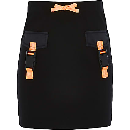 Girls RI Active black buckle front skirt