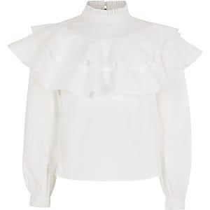 Witte hoogsluitende blouse met ruches voor meisjes
