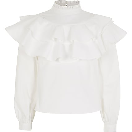 Girls white high neck ruffle blouse