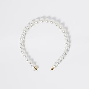 Serre-tête blanc en perles pour fille