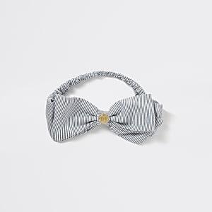 Blauwe gestreepte hoofdband met strik en RI-print voor meisjes