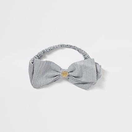 Girls blue stripe RI bow headband