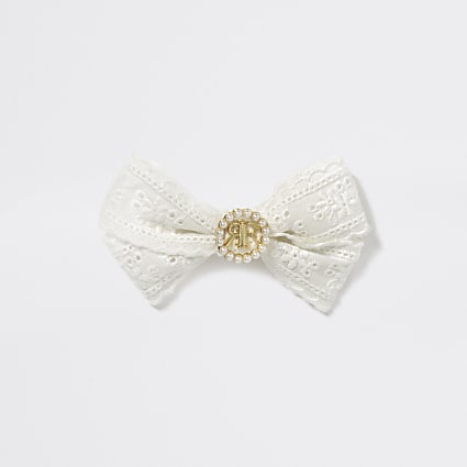Girls cream embroidered RI bow hair clip