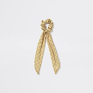 Gele scrunchiehaarband met RI-monogram voor meisjes
