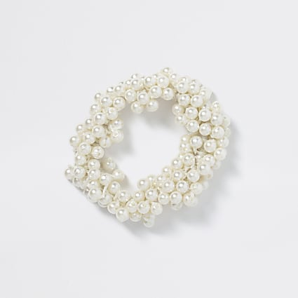 Girls white pearl scrunchie hairband