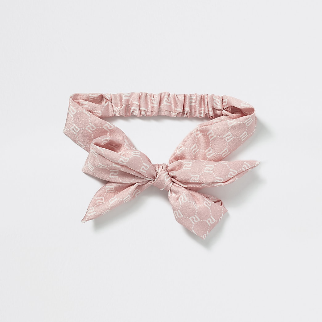 Girls pink RI monogram bow headband