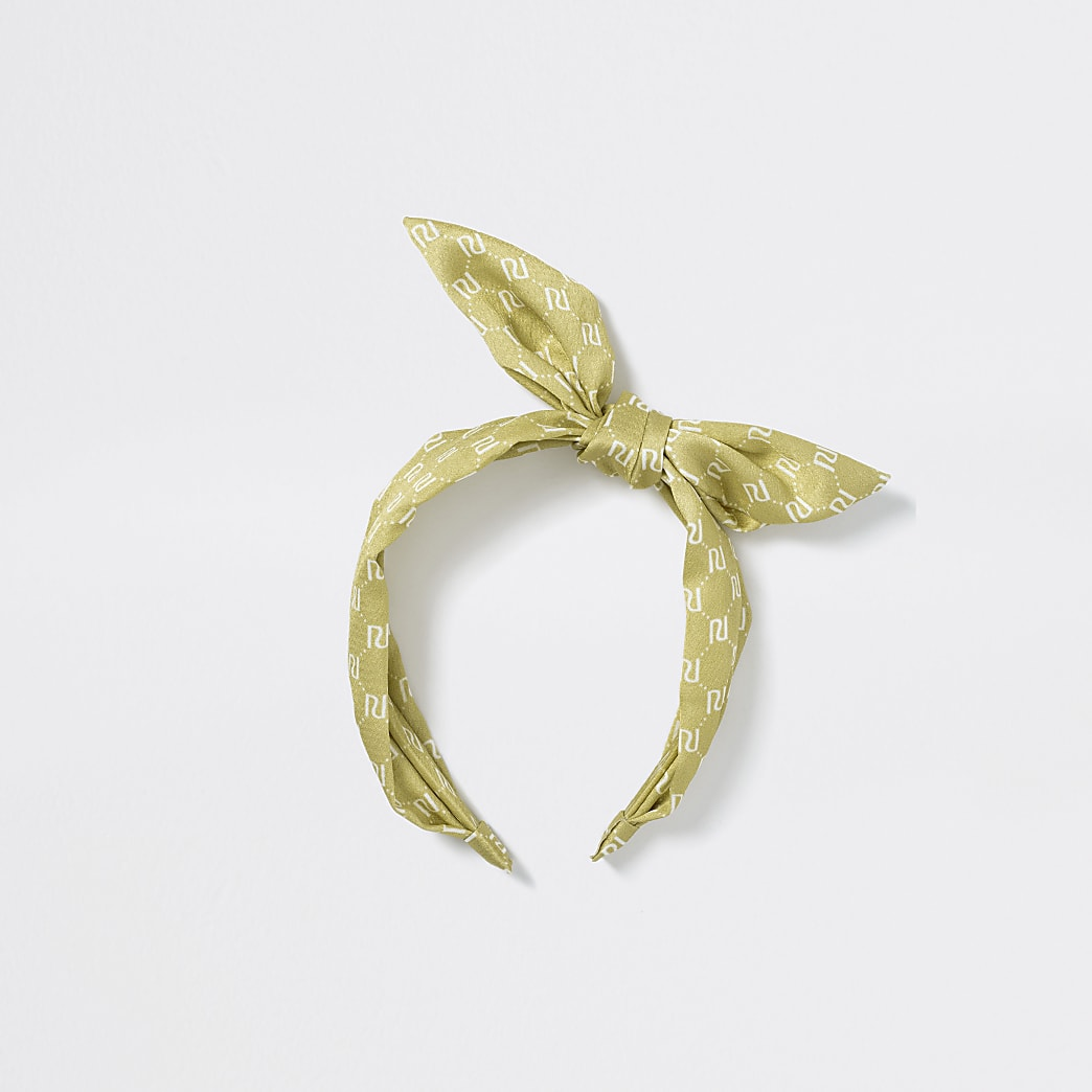Girls yellow RI monogram bow headband