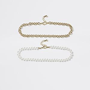 Choker-Halskette mit weißen Perlen für Mädchen, 2er-Set