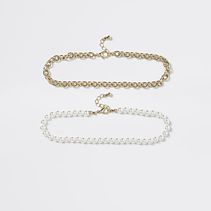 Girls white pearl choker necklace 2 pack