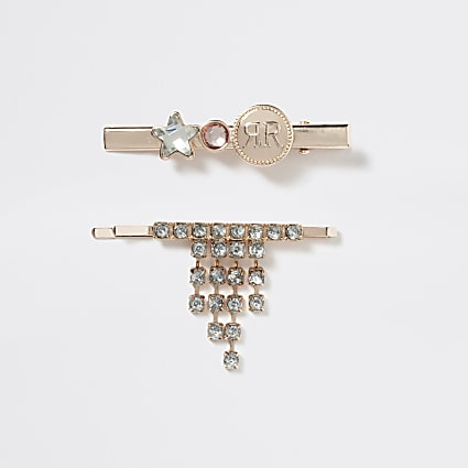 Girls rose gold embellished hair clips 2 pack