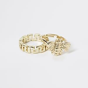 Goldener Ring mit RI und Wespe im2er-Pack für Mädchen