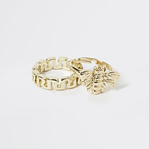 Set van 2 goudkleurige ringen met RI-letters en wesp voor meisjes
