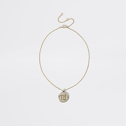 Girls gold colour RI pendant necklace