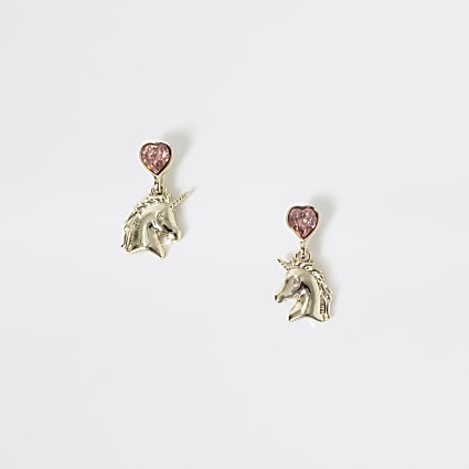 Girls gold unicorn diamante drop earrings