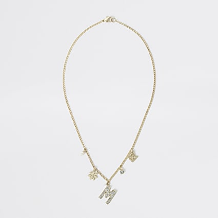 Girls gold colour M embellished necklace