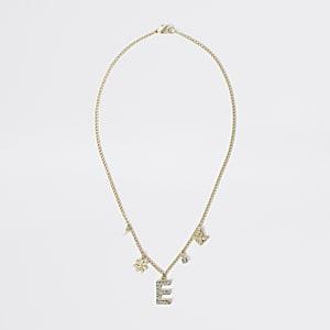 """Goldfarbene Kette mit """"E"""" für Mädchen"""