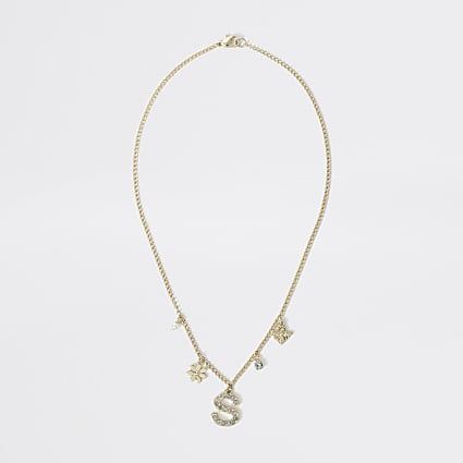 Girls gold colour S embellished necklace