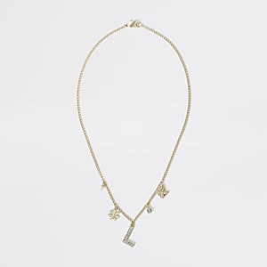 Goudkleurige ketting met verfraaide L-hanger voor meisjes