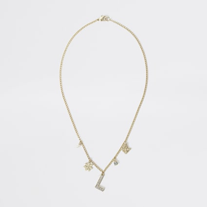 Girls gold colour L embellished necklace