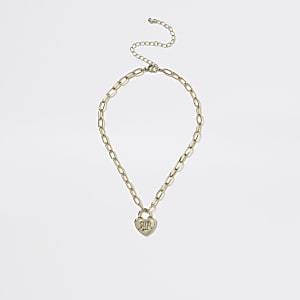Gouden hartvorminge hanger aan geschakelde ketting voor meisjes