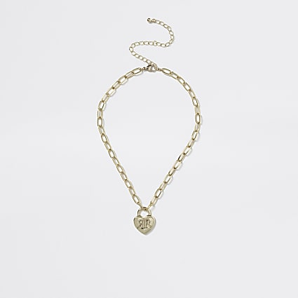 Girls gold RI heart pendant chain necklace