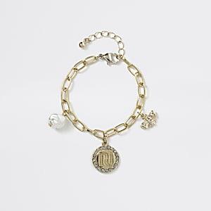 Gouden RI wespen hanger aan armband voor meisjes