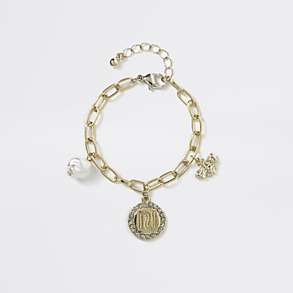 Girls gold RI wasp pendant bracelet
