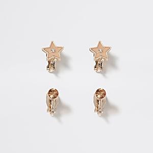 Lot de 2 boucles d'oreilles étoilesdorées à clip pour fille