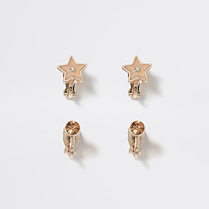 Girls gold colour star clip on earring 2 pack