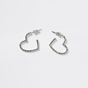 Zilverkleurige hartvormige oorringen voor meisjes