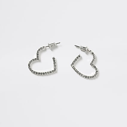 Girls silver colour heart hoop earrings