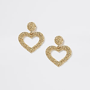 Goldene Hängeohrringe in Herzform mit für Mädchen