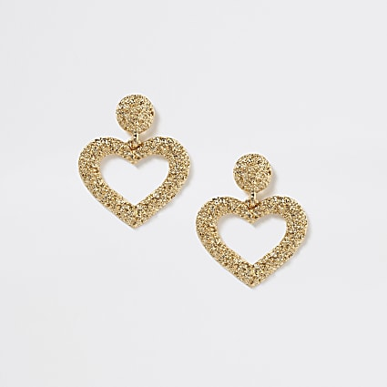 Girls gold embellished heart drop earrings