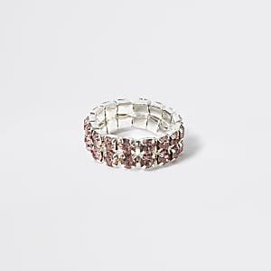 Roze elastische ring met siersteentjes voor meisjes